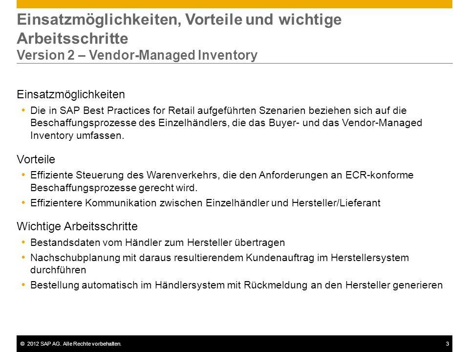 ©2012 SAP AG. Alle Rechte vorbehalten.3 Einsatzmöglichkeiten, Vorteile und wichtige Arbeitsschritte Version 2 – Vendor-Managed Inventory Einsatzmöglic