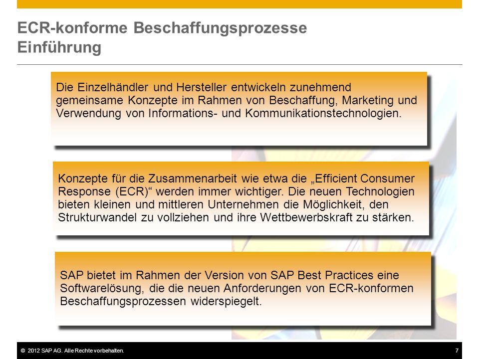 ©2012 SAP AG. Alle Rechte vorbehalten.7 ECR-konforme Beschaffungsprozesse Einführung Die Einzelhändler und Hersteller entwickeln zunehmend gemeinsame