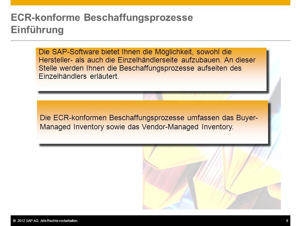 ©2012 SAP AG. Alle Rechte vorbehalten.8 ECR-konforme Beschaffungsprozesse Einführung Die SAP-Software bietet Ihnen die Möglichkeit, sowohl die Herstel
