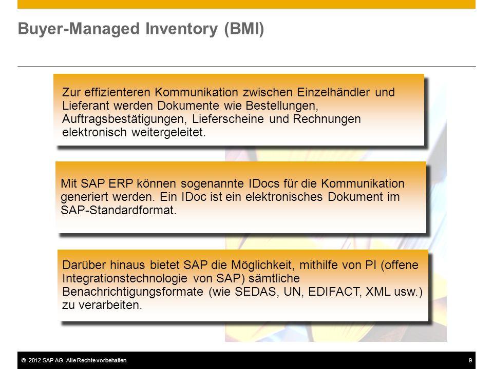 ©2012 SAP AG. Alle Rechte vorbehalten.9 Buyer-Managed Inventory (BMI) Mit SAP ERP können sogenannte IDocs für die Kommunikation generiert werden. Ein