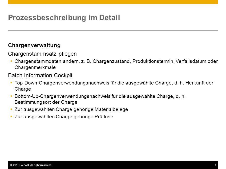 ©2011 SAP AG. All rights reserved.4 Prozessbeschreibung im Detail Chargenverwaltung Chargenstammsatz pflegen Chargenstammdaten ändern, z. B. Chargenzu