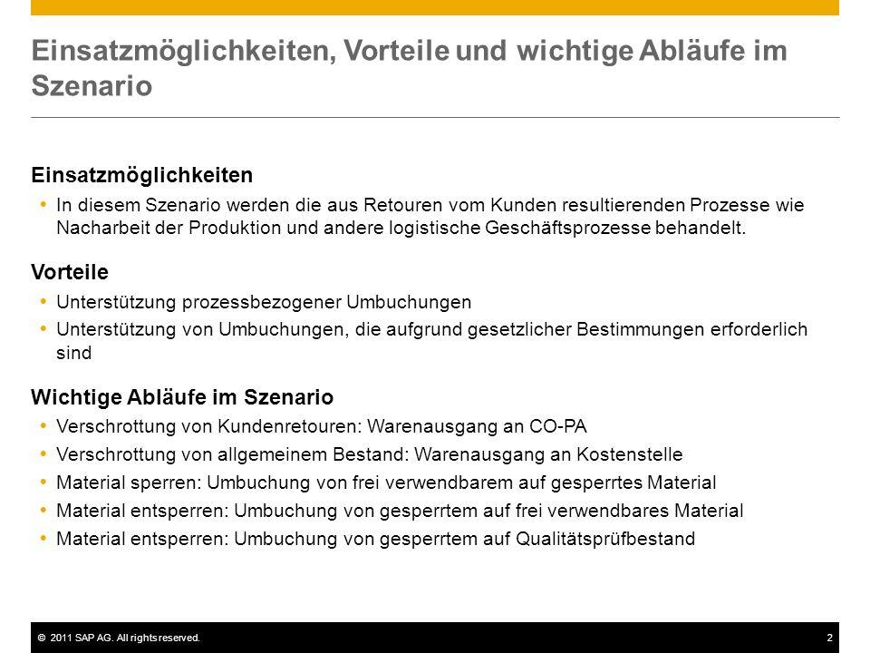 ©2011 SAP AG. All rights reserved.2 Einsatzmöglichkeiten, Vorteile und wichtige Abläufe im Szenario Einsatzmöglichkeiten In diesem Szenario werden die