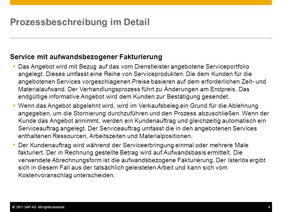 ©2011 SAP AG. All rights reserved.4 Prozessbeschreibung im Detail Service mit aufwandsbezogener Fakturierung Das Angebot wird mit Bezug auf das vom Di