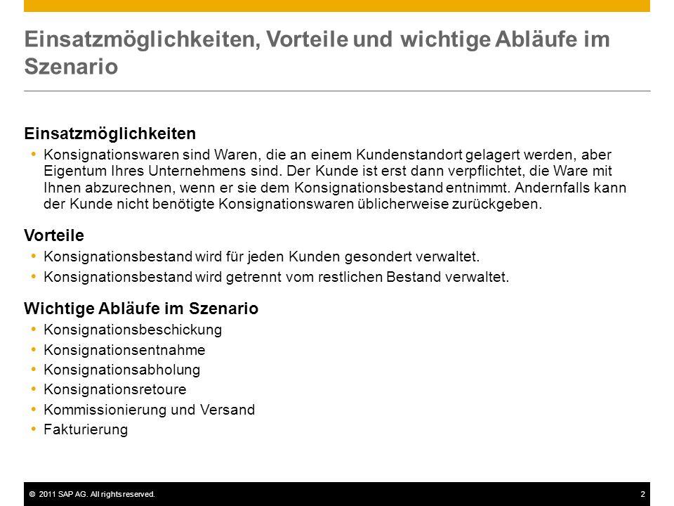 ©2011 SAP AG. All rights reserved.2 Einsatzmöglichkeiten, Vorteile und wichtige Abläufe im Szenario Einsatzmöglichkeiten Konsignationswaren sind Waren