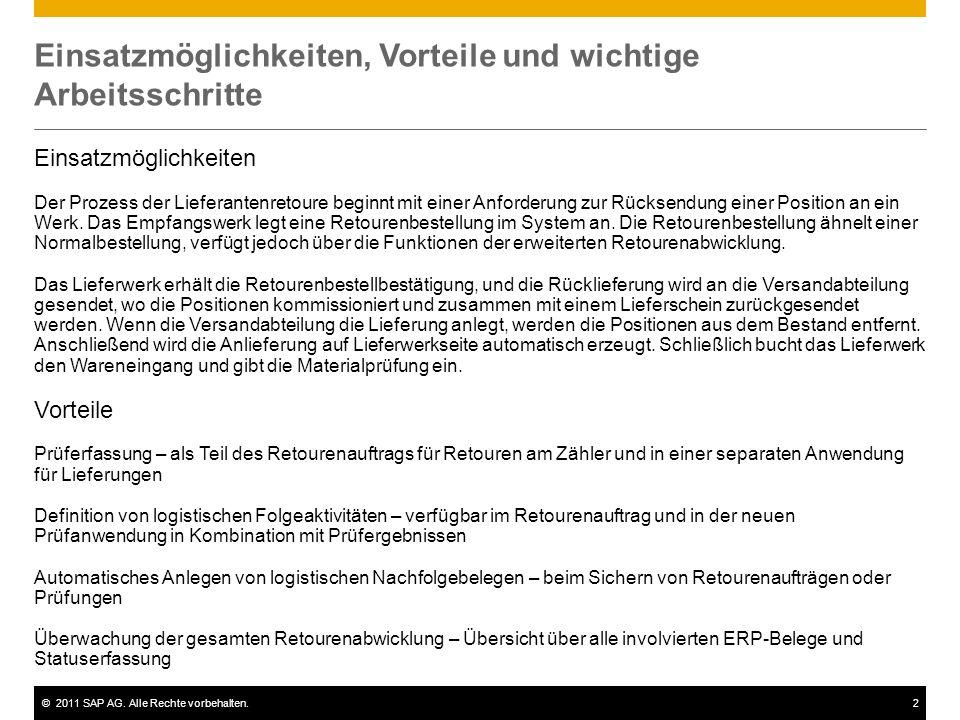 ©2011 SAP AG. Alle Rechte vorbehalten.2 Einsatzmöglichkeiten, Vorteile und wichtige Arbeitsschritte Einsatzmöglichkeiten Der Prozess der Lieferantenre