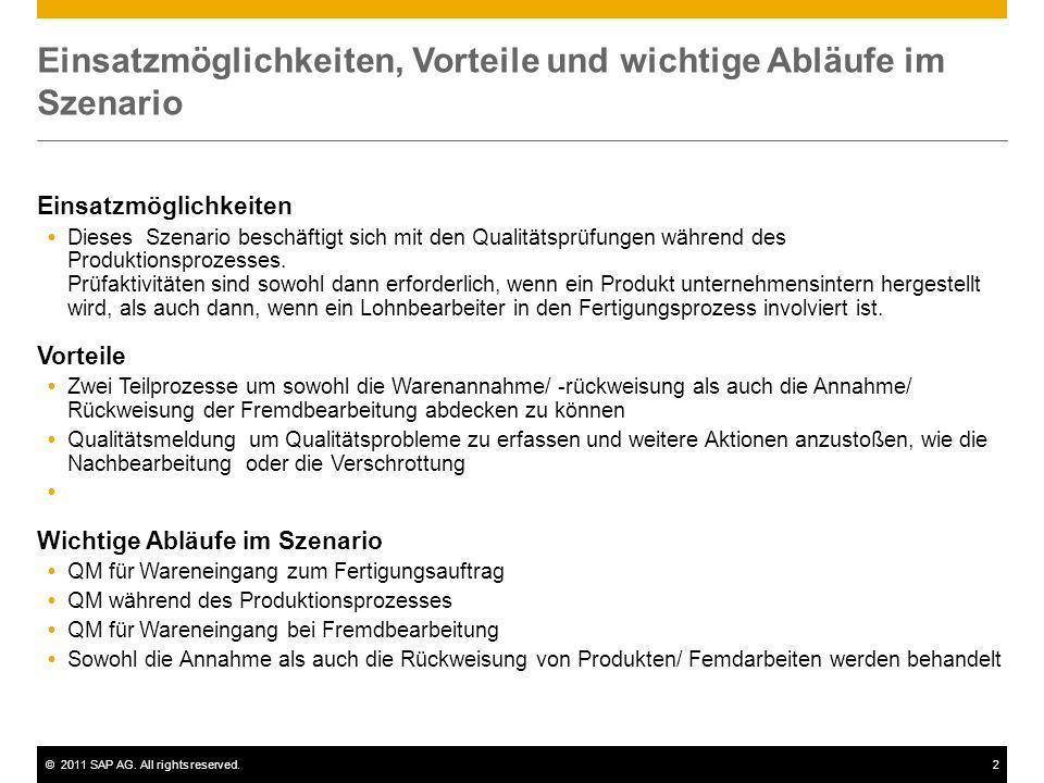 ©2011 SAP AG. All rights reserved.2 Einsatzmöglichkeiten, Vorteile und wichtige Abläufe im Szenario Einsatzmöglichkeiten Dieses Szenario beschäftigt s