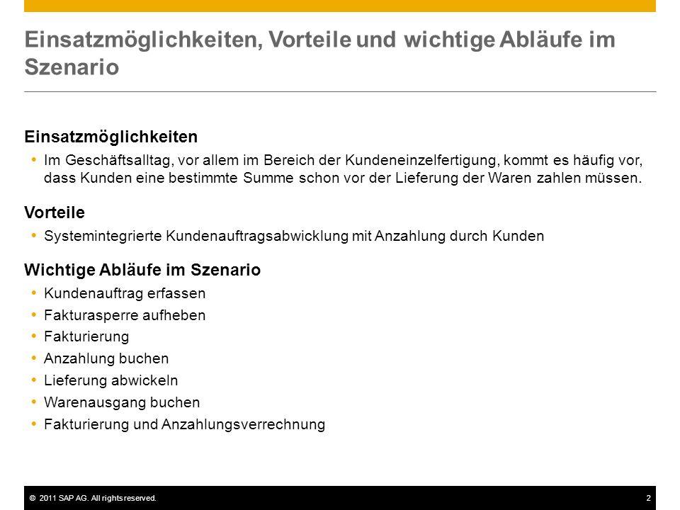 ©2011 SAP AG. All rights reserved.2 Einsatzmöglichkeiten, Vorteile und wichtige Abläufe im Szenario Einsatzmöglichkeiten Im Geschäftsalltag, vor allem