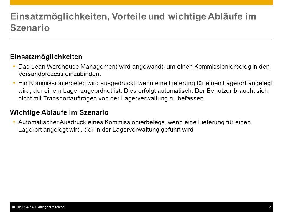 ©2011 SAP AG. All rights reserved.2 Einsatzmöglichkeiten, Vorteile und wichtige Abläufe im Szenario Einsatzmöglichkeiten Das Lean Warehouse Management
