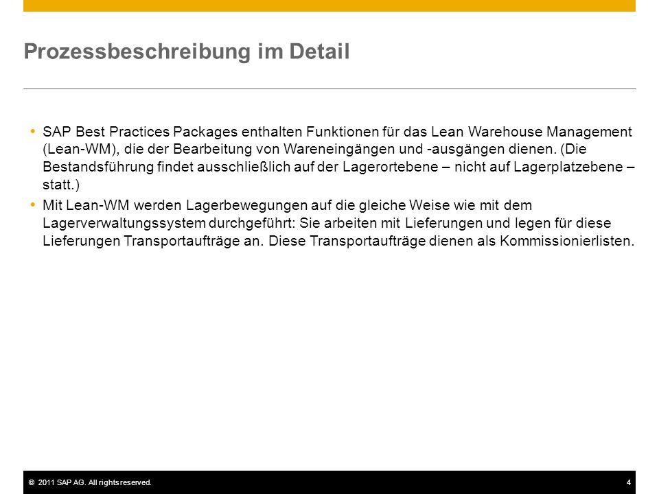 ©2011 SAP AG. All rights reserved.4 Prozessbeschreibung im Detail SAP Best Practices Packages enthalten Funktionen für das Lean Warehouse Management (