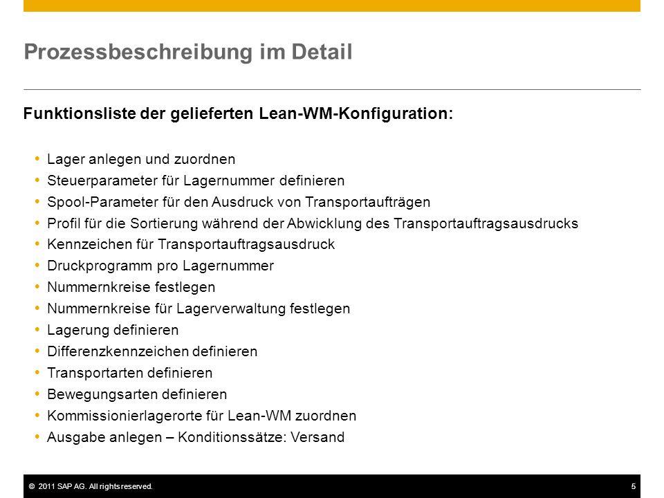 ©2011 SAP AG. All rights reserved.5 Prozessbeschreibung im Detail Lager anlegen und zuordnen Steuerparameter für Lagernummer definieren Spool-Paramete