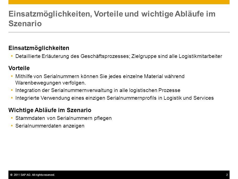 ©2011 SAP AG. All rights reserved.2 Einsatzmöglichkeiten, Vorteile und wichtige Abläufe im Szenario Einsatzmöglichkeiten Detaillierte Erläuterung des