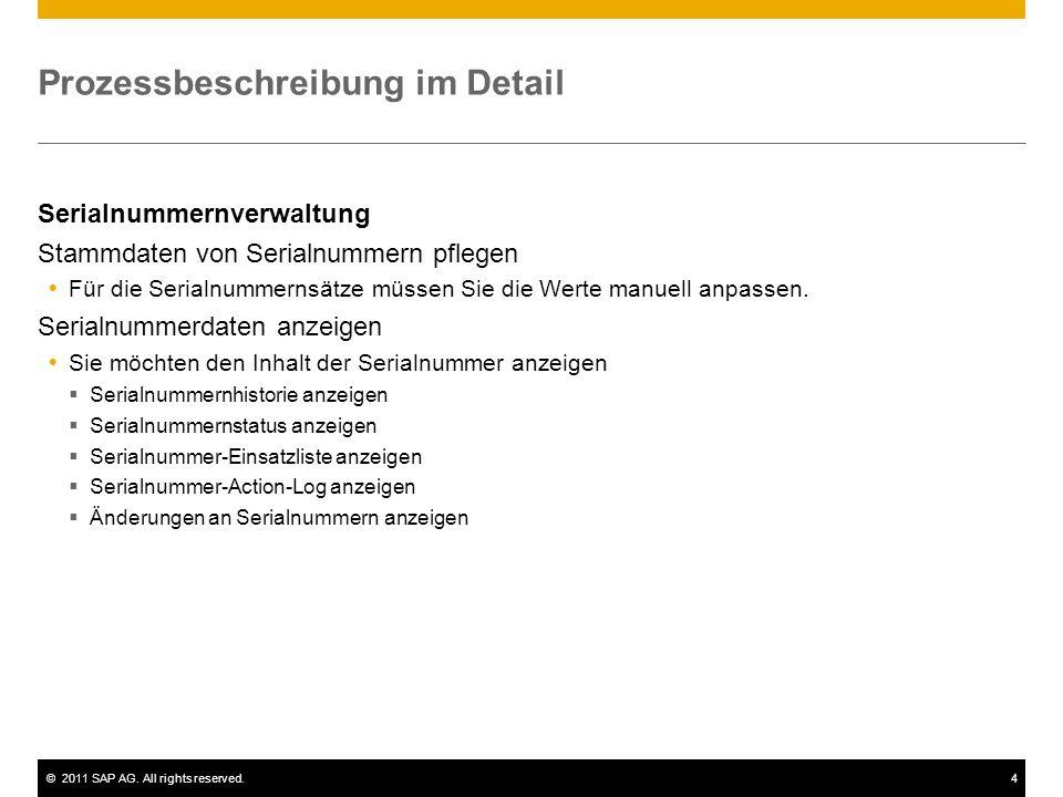 ©2011 SAP AG. All rights reserved.4 Prozessbeschreibung im Detail Serialnummernverwaltung Stammdaten von Serialnummern pflegen Für die Serialnummernsä