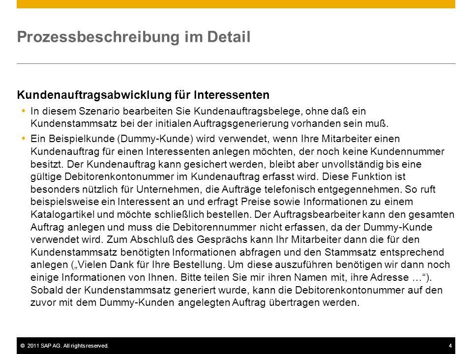 ©2011 SAP AG. All rights reserved.4 Prozessbeschreibung im Detail Kundenauftragsabwicklung für Interessenten In diesem Szenario bearbeiten Sie Kundena
