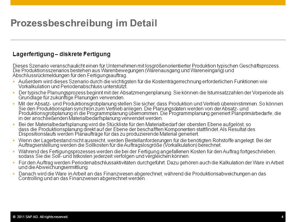 ©2011 SAP AG. All rights reserved.4 Prozessbeschreibung im Detail Lagerfertigung – diskrete Fertigung Dieses Szenario veranschaulicht einen für Untern
