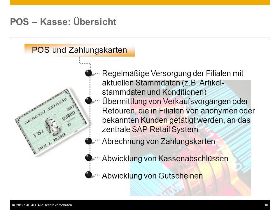 ©2012 SAP AG. Alle Rechte vorbehalten.10 POS – Kasse: Übersicht POS und Zahlungskarten Abrechnung von Zahlungskarten Abwicklung von Kassenabschlüssen