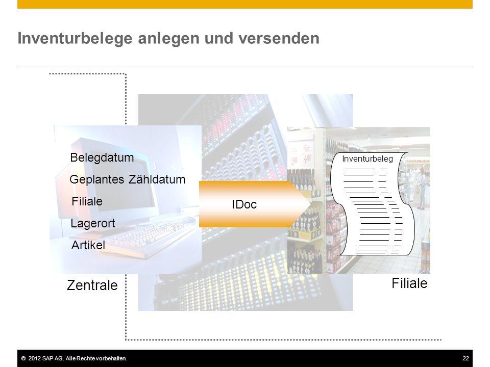 ©2012 SAP AG. Alle Rechte vorbehalten.22 Inventurbelege anlegen und versenden Belegdatum Artikel Geplantes Zähldatum Filiale Lagerort IDoc Inventurbel