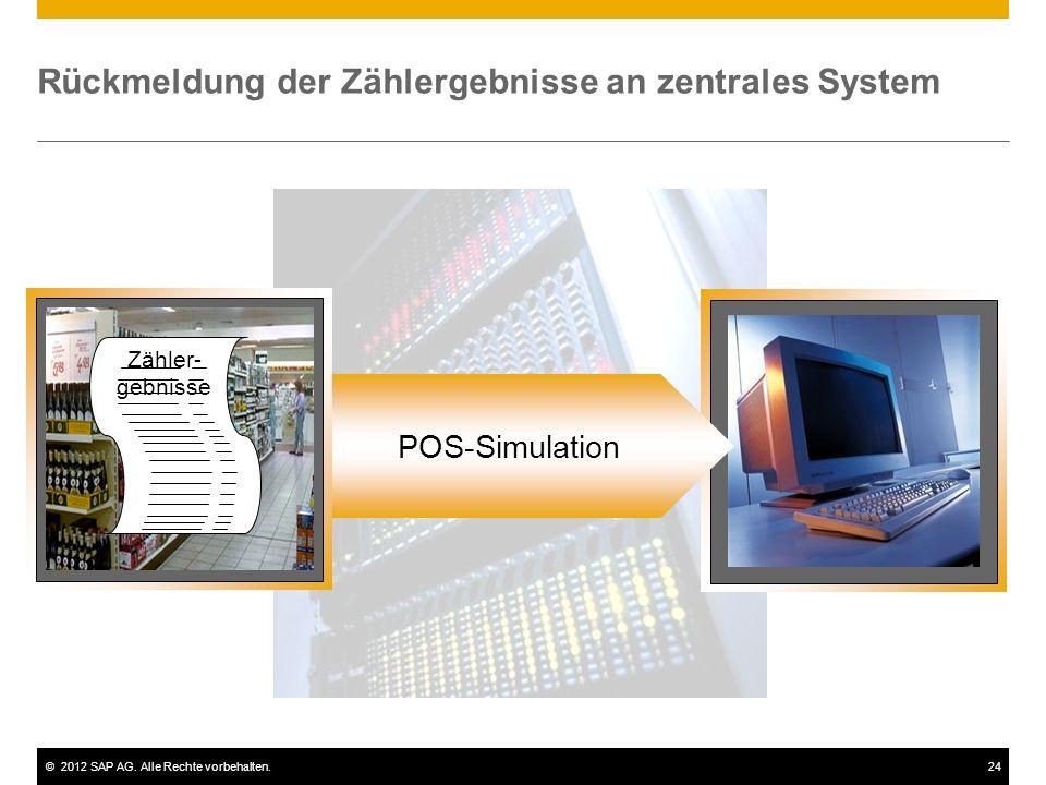 ©2012 SAP AG. Alle Rechte vorbehalten.24 Rückmeldung der Zählergebnisse an zentrales System POS-Simulation Zähler- gebnisse