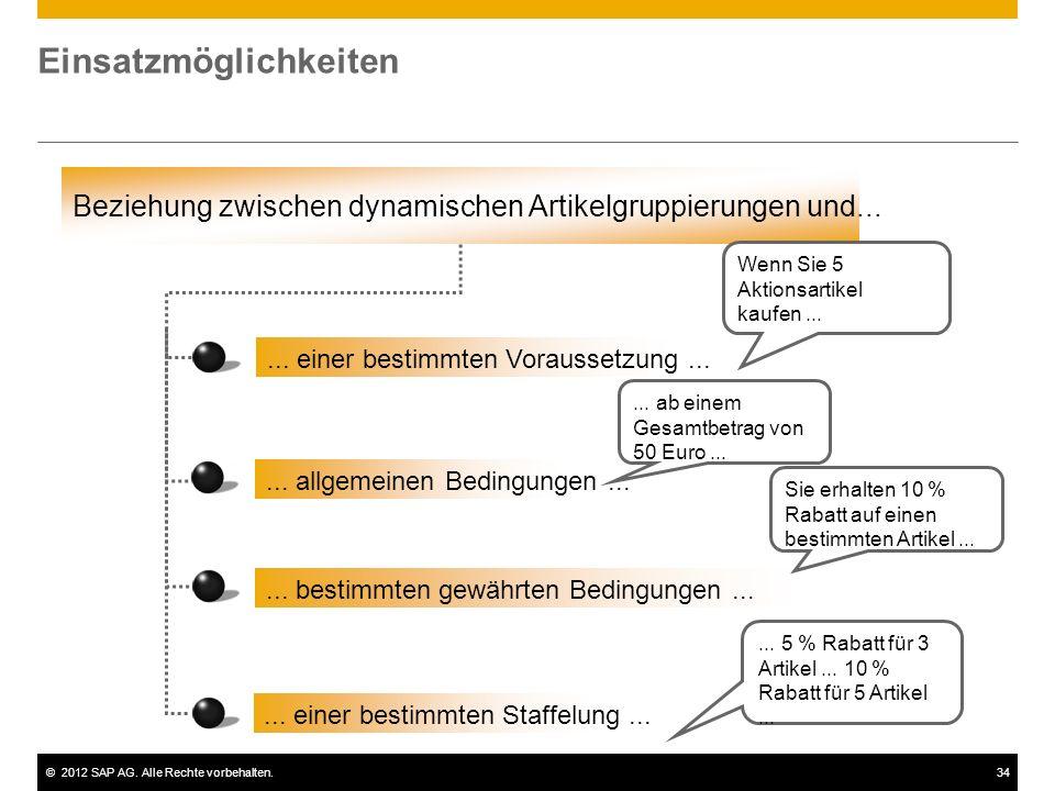 ©2012 SAP AG. Alle Rechte vorbehalten.34 Einsatzmöglichkeiten Beziehung zwischen dynamischen Artikelgruppierungen und...... einer bestimmten Vorausset