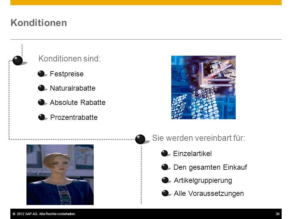 ©2012 SAP AG. Alle Rechte vorbehalten.35 Konditionen Konditionen sind: Festpreise Naturalrabatte Absolute Rabatte Prozentrabatte Sie werden vereinbart