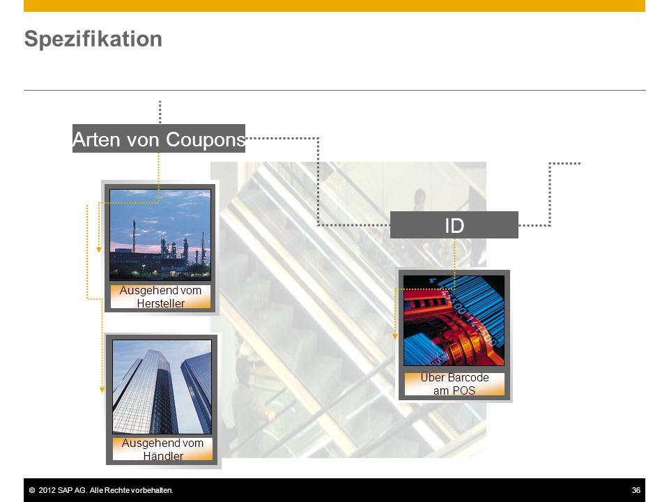 ©2012 SAP AG. Alle Rechte vorbehalten.36 Spezifikation Arten von Coupons Ausgehend vom Hersteller Ausgehend vom Händler ID Über Barcode am POS