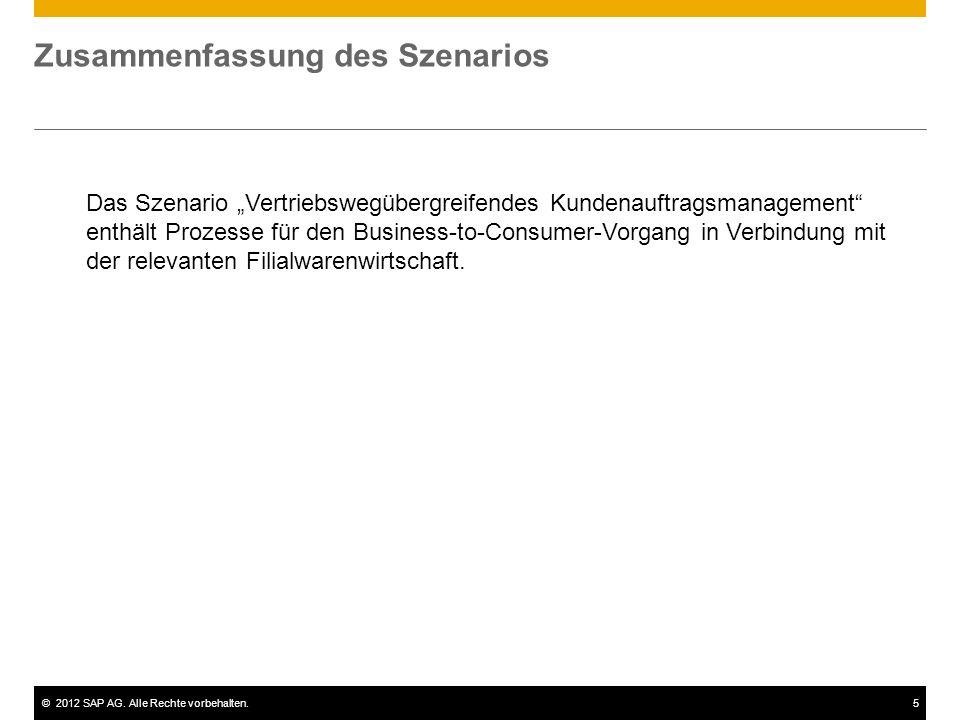 ©2012 SAP AG. Alle Rechte vorbehalten.5 Zusammenfassung des Szenarios Das Szenario Vertriebswegübergreifendes Kundenauftragsmanagement enthält Prozess