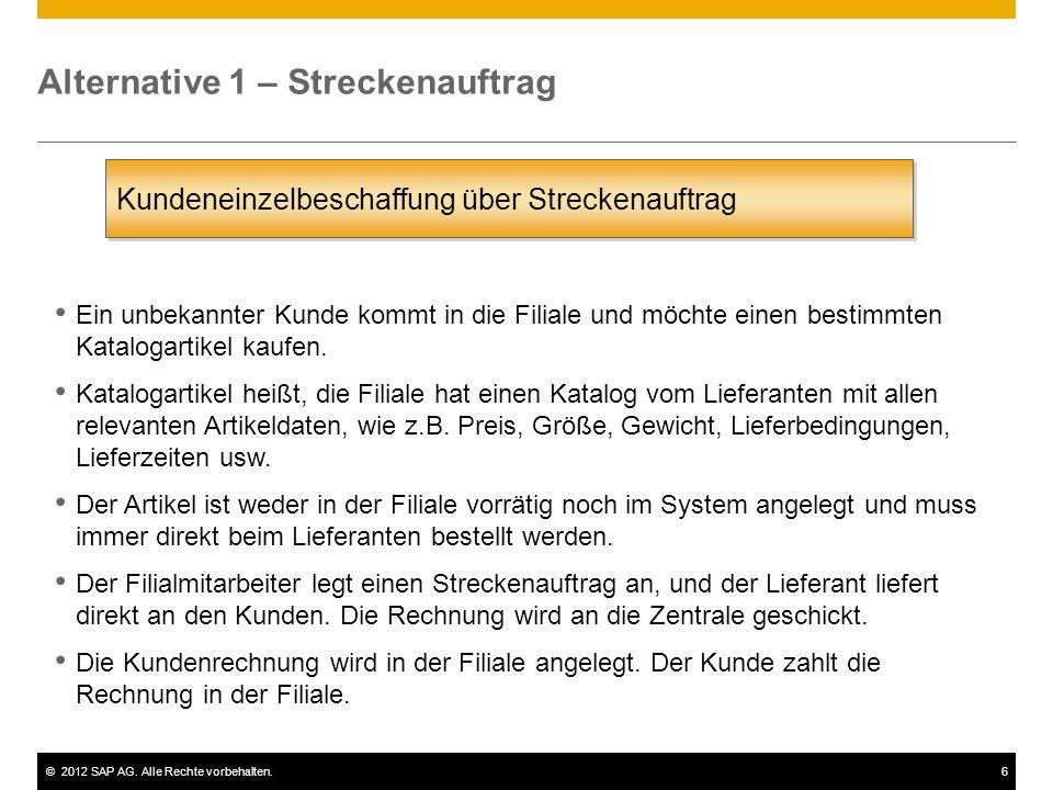 ©2012 SAP AG. Alle Rechte vorbehalten.6 Alternative 1 – Streckenauftrag Kundeneinzelbeschaffung über Streckenauftrag Ein unbekannter Kunde kommt in di