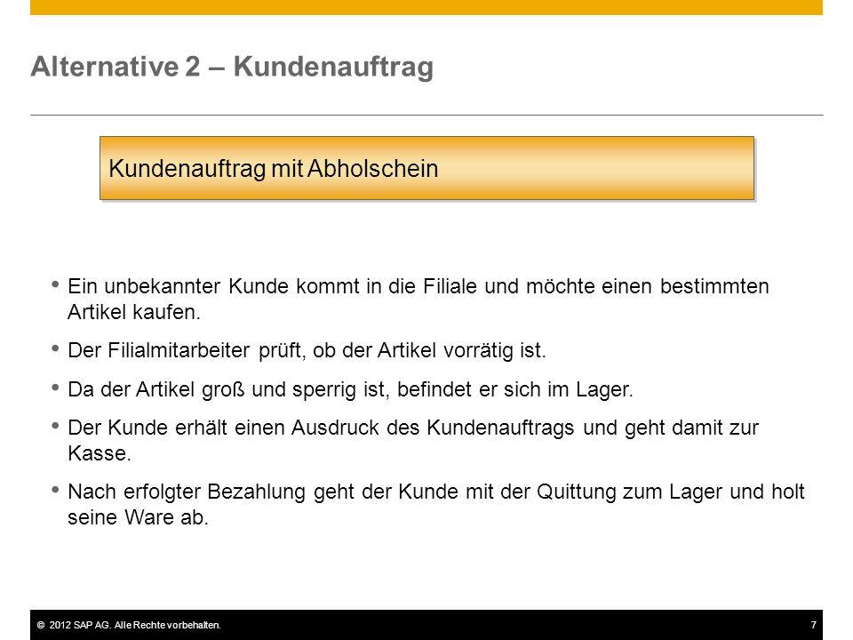 ©2012 SAP AG. Alle Rechte vorbehalten.7 Alternative 2 – Kundenauftrag Kundenauftrag mit Abholschein Ein unbekannter Kunde kommt in die Filiale und möc