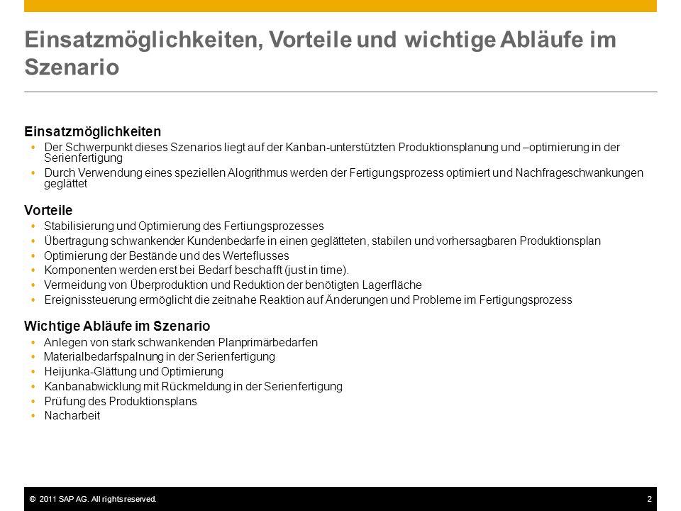 ©2011 SAP AG. All rights reserved.2 Einsatzmöglichkeiten, Vorteile und wichtige Abläufe im Szenario Einsatzmöglichkeiten Der Schwerpunkt dieses Szenar