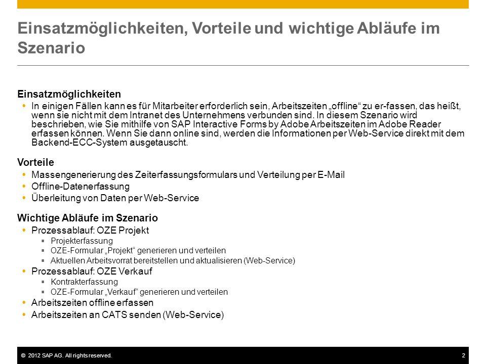 ©2012 SAP AG. All rights reserved.2 Einsatzmöglichkeiten, Vorteile und wichtige Abläufe im Szenario Einsatzmöglichkeiten In einigen Fällen kann es für