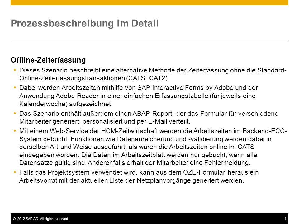 ©2012 SAP AG. All rights reserved.4 Prozessbeschreibung im Detail Offline-Zeiterfassung Dieses Szenario beschreibt eine alternative Methode der Zeiter