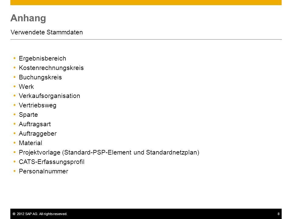 ©2012 SAP AG. All rights reserved.8 Anhang Verwendete Stammdaten Ergebnisbereich Kostenrechnungskreis Buchungskreis Werk Verkaufsorganisation Vertrieb