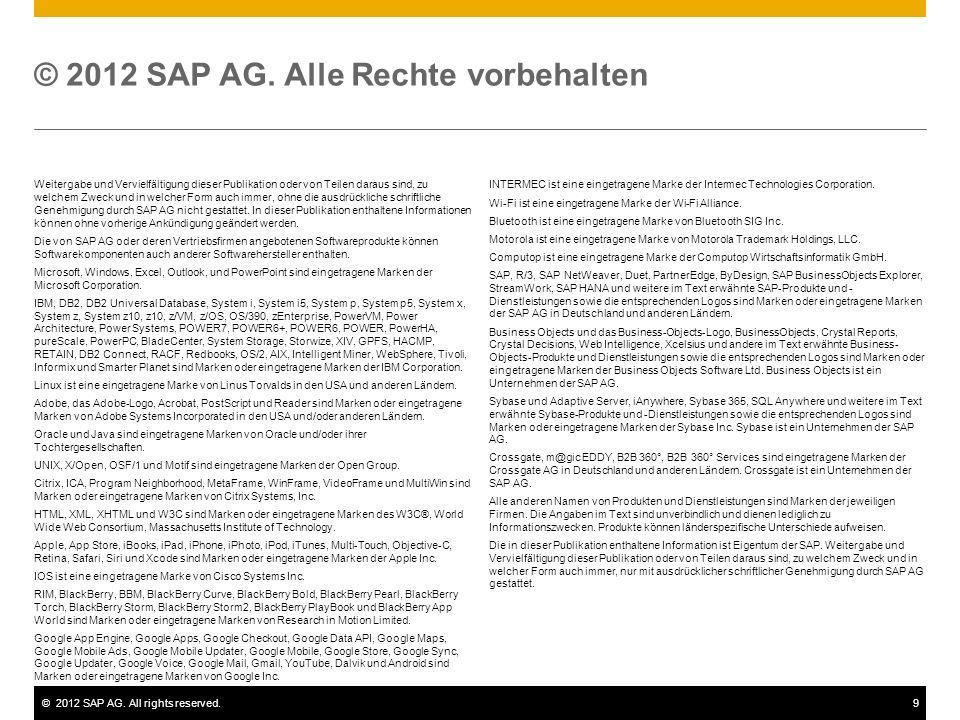 ©2012 SAP AG. All rights reserved.9 Weitergabe und Vervielfältigung dieser Publikation oder von Teilen daraus sind, zu welchem Zweck und in welcher Fo
