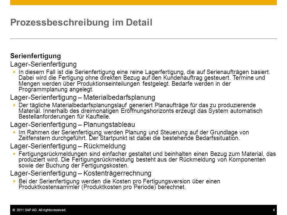 ©2011 SAP AG. All rights reserved.4 Prozessbeschreibung im Detail Serienfertigung Lager-Serienfertigung In diesem Fall ist die Serienfertigung eine re