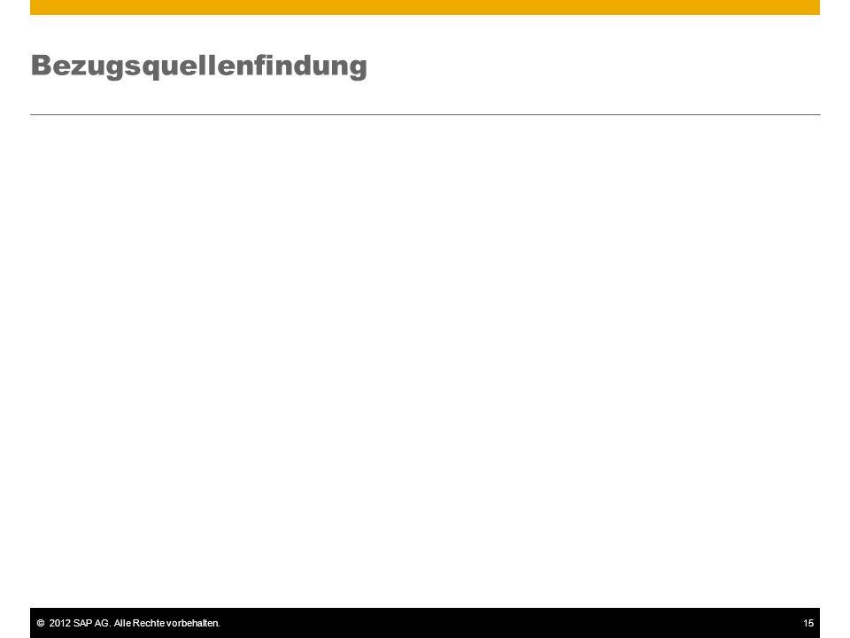 ©2012 SAP AG. Alle Rechte vorbehalten.16 Bestellung: Bezugsquellenfindung