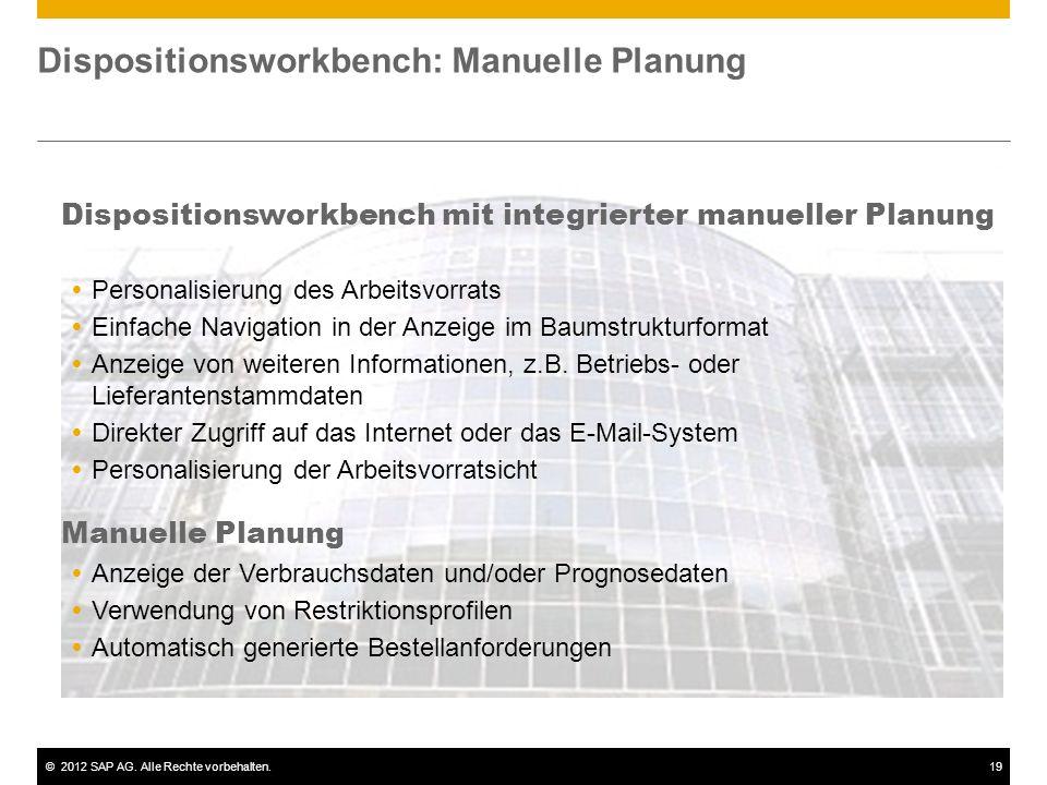 ©2012 SAP AG. Alle Rechte vorbehalten.20 Bestelloptimierung