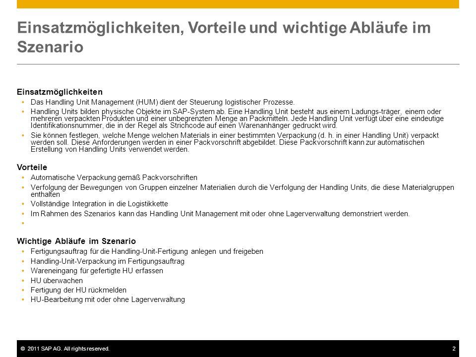 ©2011 SAP AG. All rights reserved.2 Einsatzmöglichkeiten, Vorteile und wichtige Abläufe im Szenario Einsatzmöglichkeiten Das Handling Unit Management
