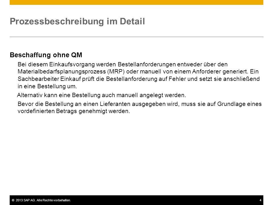 ©2013 SAP AG. Alle Rechte vorbehalten.4 Prozessbeschreibung im Detail Beschaffung ohne QM Bei diesem Einkaufsvorgang werden Bestellanforderungen entwe