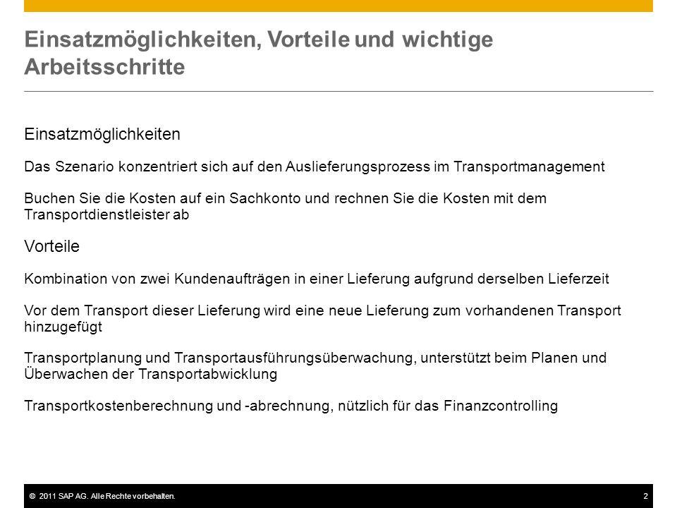 ©2011 SAP AG. Alle Rechte vorbehalten.2 Einsatzmöglichkeiten, Vorteile und wichtige Arbeitsschritte Einsatzmöglichkeiten Das Szenario konzentriert sic