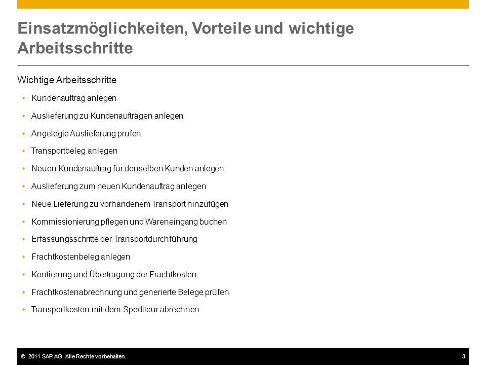 ©2011 SAP AG. Alle Rechte vorbehalten.3 Einsatzmöglichkeiten, Vorteile und wichtige Arbeitsschritte Wichtige Arbeitsschritte Kundenauftrag anlegen Aus