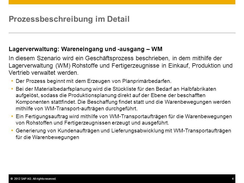 ©2012 SAP AG. All rights reserved.4 Prozessbeschreibung im Detail Lagerverwaltung: Wareneingang und -ausgang – WM In diesem Szenario wird ein Geschäft