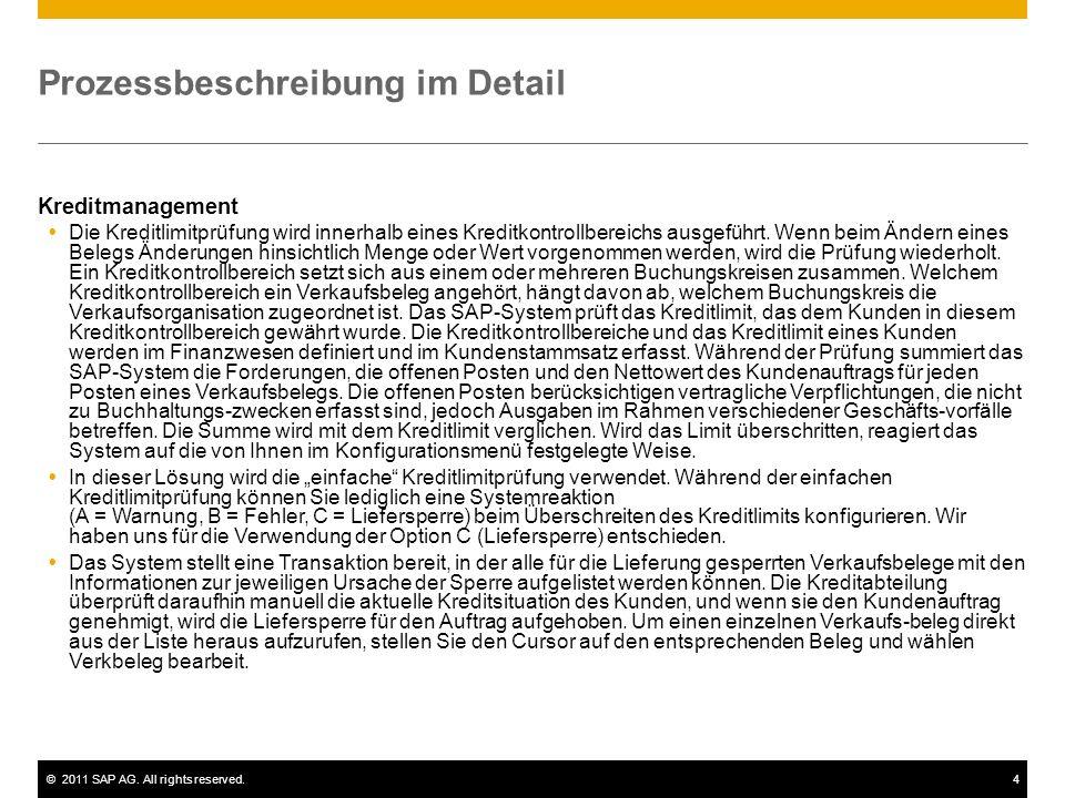 ©2011 SAP AG. All rights reserved.4 Prozessbeschreibung im Detail Kreditmanagement Die Kreditlimitprüfung wird innerhalb eines Kreditkontrollbereichs