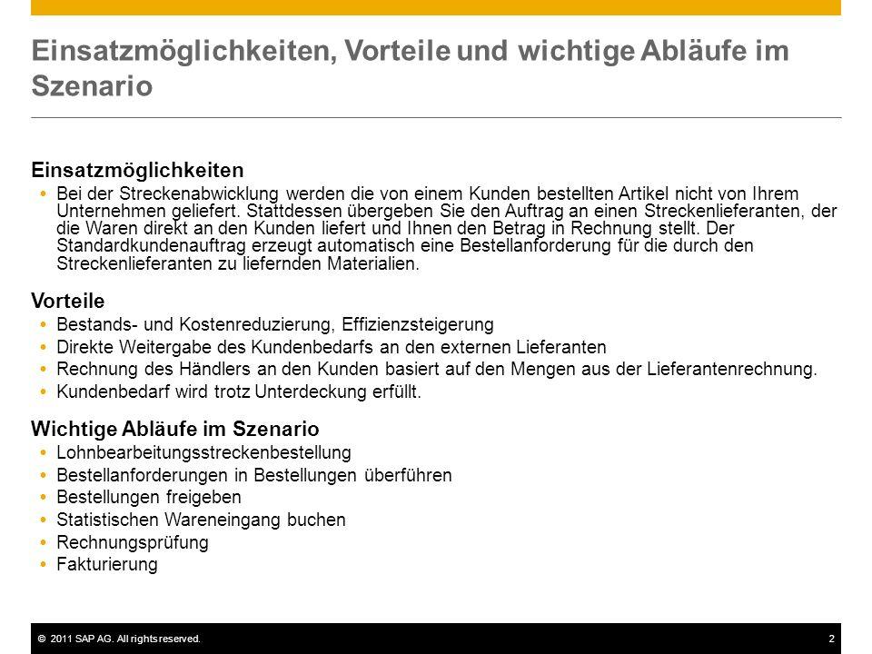 ©2011 SAP AG. All rights reserved.2 Einsatzmöglichkeiten, Vorteile und wichtige Abläufe im Szenario Einsatzmöglichkeiten Bei der Streckenabwicklung we
