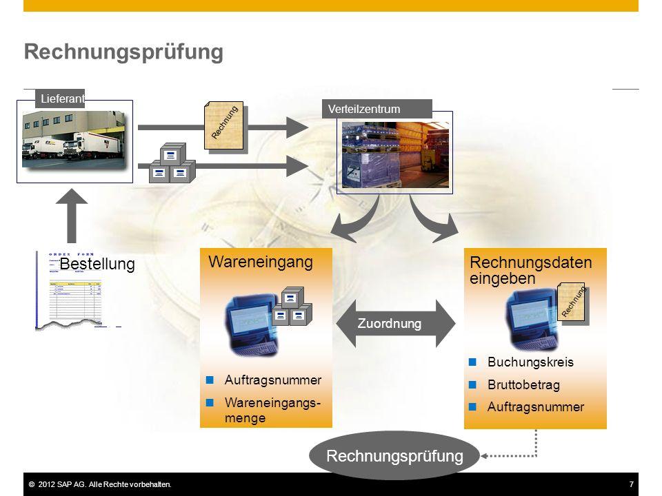 ©2012 SAP AG. Alle Rechte vorbehalten.7 Rechnungsprüfung Zuordnung Rechnungsprüfung Lieferant Verteilzentrum Wareneingang Auftragsnummer Wareneingangs