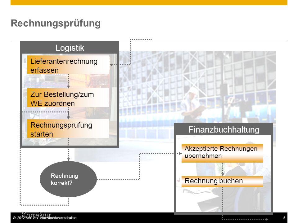 ©2012 SAP AG. Alle Rechte vorbehalten.8 Rechnungsprüfung Finanzbuchhaltung Logistik Rechnungsprüfung starten Lieferantenrechnung erfassen Rechnung kor