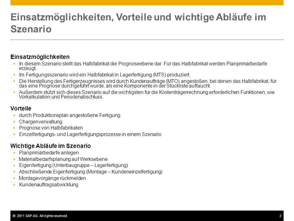 ©2011 SAP AG. All rights reserved.2 Einsatzmöglichkeiten, Vorteile und wichtige Abläufe im Szenario Einsatzmöglichkeiten In diesem Szenario stellt das