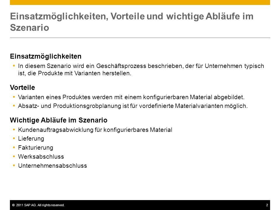 ©2011 SAP AG. All rights reserved.2 Einsatzmöglichkeiten, Vorteile und wichtige Abläufe im Szenario Einsatzmöglichkeiten In diesem Szenario wird ein G