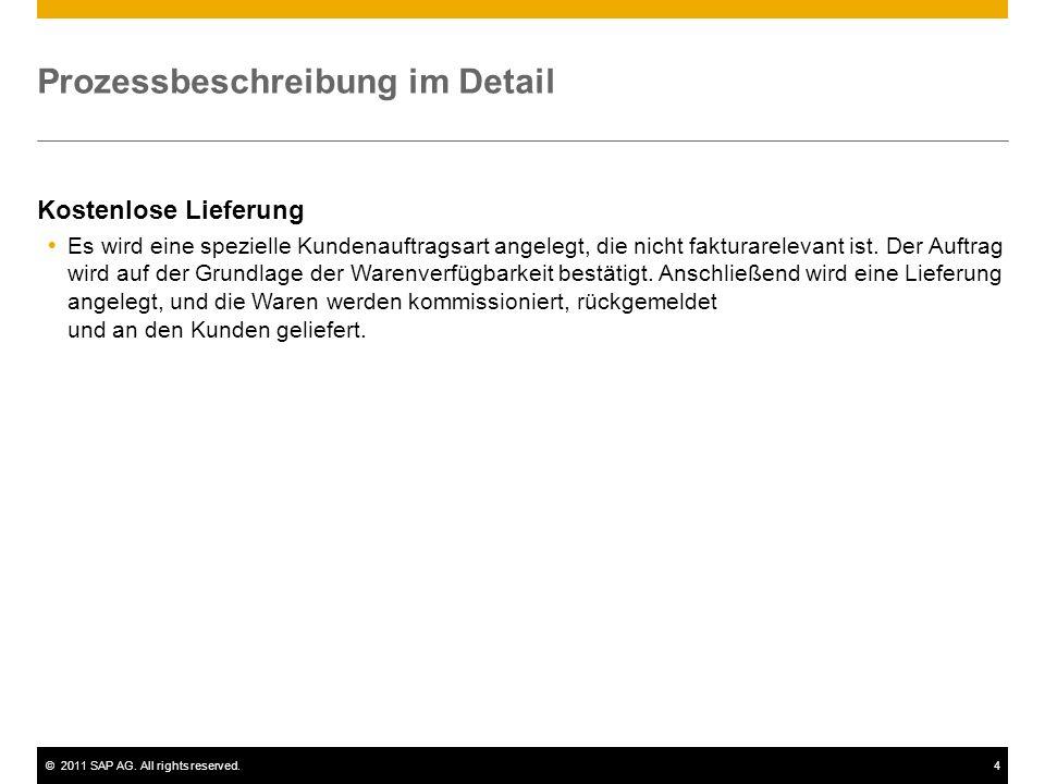 ©2011 SAP AG. All rights reserved.4 Prozessbeschreibung im Detail Kostenlose Lieferung Es wird eine spezielle Kundenauftragsart angelegt, die nicht fa