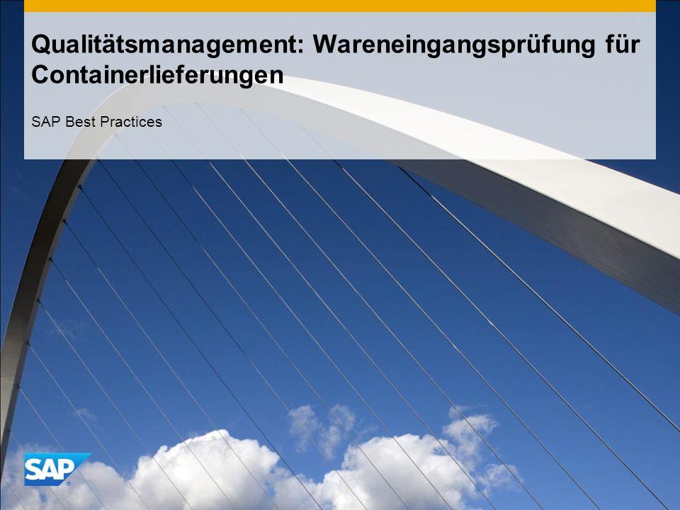 Qualitätsmanagement: Wareneingangsprüfung für Containerlieferungen SAP Best Practices