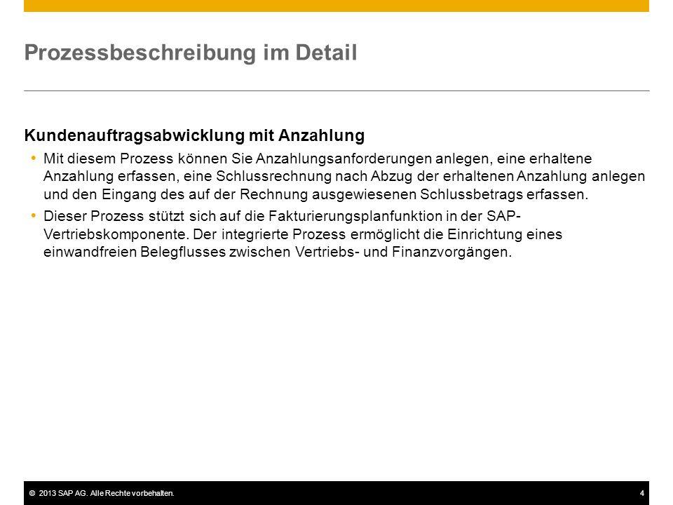 ©2013 SAP AG. Alle Rechte vorbehalten.4 Prozessbeschreibung im Detail Kundenauftragsabwicklung mit Anzahlung Mit diesem Prozess können Sie Anzahlungsa