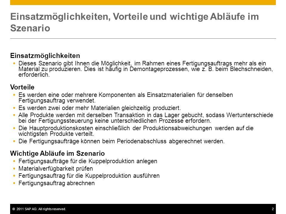 ©2011 SAP AG. All rights reserved.2 Einsatzmöglichkeiten, Vorteile und wichtige Abläufe im Szenario Einsatzmöglichkeiten Dieses Szenario gibt Ihnen di